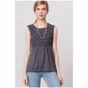 Anthropologie Deletta Smocked Cadence Top M